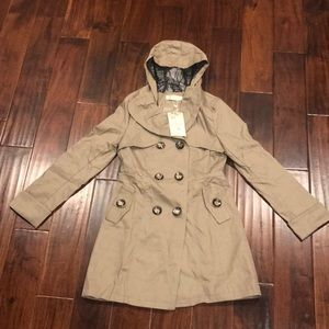 Women's Khaki hooded trench coat w/ cute bow back